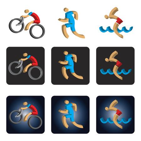 Iron Man: Three dimensional Triathlon icons. Three dimensional design stylized icons with athletes symbolizing triathlon, swimming, run  and cycling. Vector available.