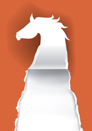 uncovering: Horse silhouette ripping paper Paper silhouette of horse ripping red paper background with place for your text or image. Vector illustration. Illustration