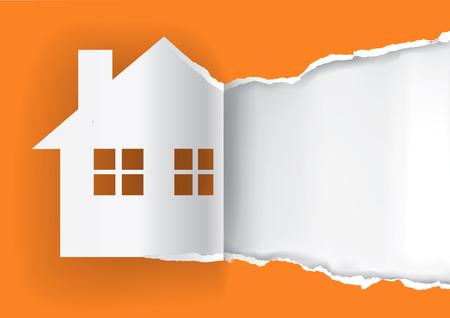 Casa en venta anuncio plantilla. Ilustración de la casa papel rasgado de papel símbolo con el lugar para su texto o imagen. Vector disponible. Ilustración de vector