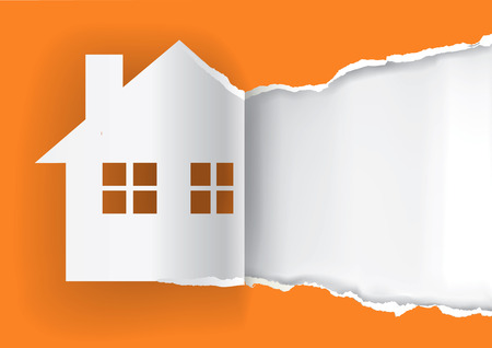 House for sale advertisement template.  Illustration of ripped paper paper house symbol with place for your text or image.  Vector available. Vettoriali