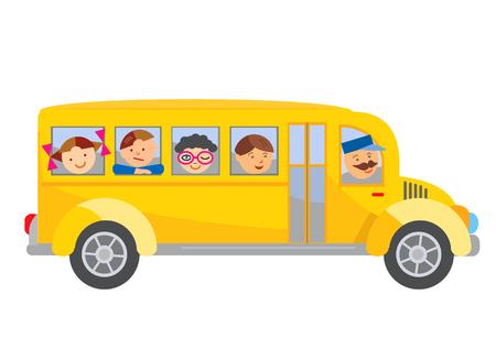 bus driver: Autob�s escolar de dibujos animados. Historieta del autob�s escolar amarillo con los ni�os. Vector disponible.
