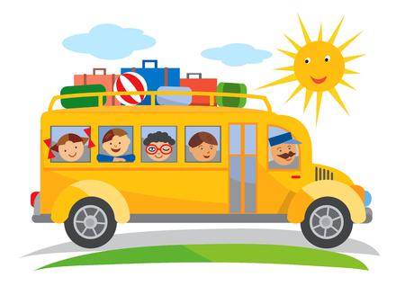 chofer de autobus: Autobús escolar viaje escolar de dibujos animados. Historieta del autobús escolar amarillo que viaja en un viaje escolar. Vector disponible Vectores