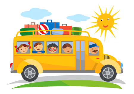 school class: School bus school trip cartoon. Cartoon of yellow School bus traveling on a school trip. Vector available