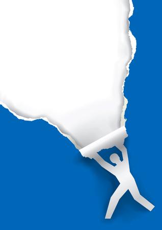 [背景に用紙をリッピング男性のシルエット。男性のシルエットを背景に青い用紙をテキストまたはイメージのための場所でリッピング。使用可能な  イラスト・ベクター素材