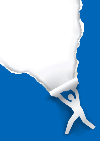 Male silhouette ripping paper background. Male silhouette ripped blue paper background with  place for your text or image.Vector available.