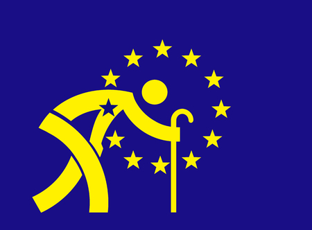 pobre: Parodia de la bandera de la Unión Europea con el símbolo de un anciano con un bastón. Concepto para una Europa que envejece y la crisis económica. Vector disponible.