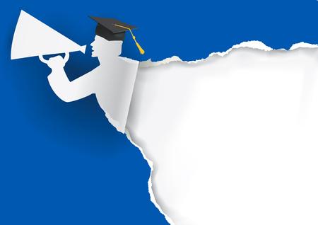 graduacion: Fondo azul con la graduación graduado de papel que sostiene un megáfono con el lugar para su texto o imagen. Vector disponible.
