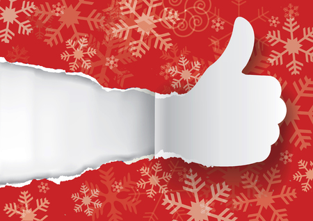 uncovering: Paper silhouette of Thumbs up ripping red Christmas wrapping paper with snowflakes.Vector available.