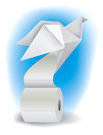 toilet roll: Origami pigeon taking off from a roll of toilet paper. Vector illustration. Vector available.