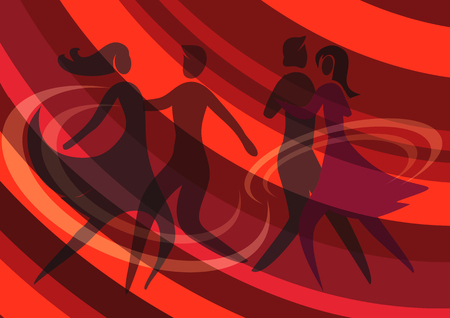 ballroom dance: Illustration of Two Young couple dancing ballroom dance on the red abstract background. Vector available