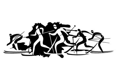 crosscountry: Cross country Skiers. Five  stylized cross-country skiers. Vector  available.