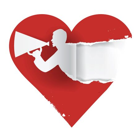 paper heart: I love you paper concept.  Red heart with torn paper male silhouette with megaphone  and  place for text or image. Vector available.