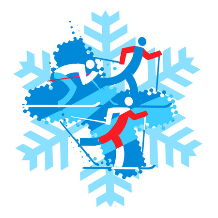 competitors: Cross country Skiers.  A stylized drawing of cross-country ski competitors on the snowflake background Vector  available.