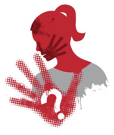 Przemoc wobec kobiet. Młoda kobieta sylwetka grunge pokrycie strajku z wydruku strony na twarzy. Wektor dostępne.