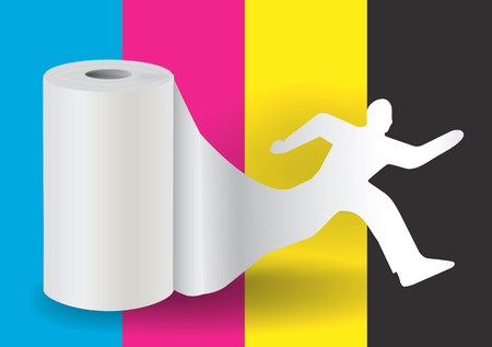 roll paper: Printer sprinter.  Silhouette of running man taking off from a roll of print paper. Concept for presenting of fast printing.Vector illustration. Illustration
