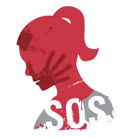 SOS Violence against woman. Young Woman head grunge silhouette with hand print on the face and sign SOS. Illustration on the white background.. Vector available. Vettoriali
