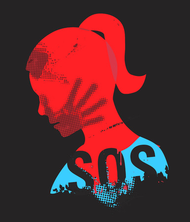 sensual: SOS Violence against woman. Young Woman head grunge silhouette with hand print on the face and sign SOS. Illustration on the black background.. Vector available.