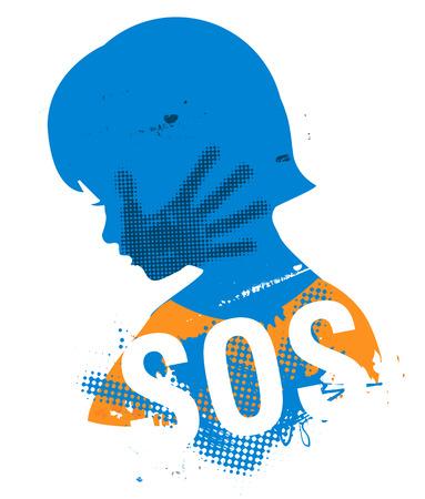 SOS Violencia contra los niños. Poca silueta de grunge cabeza chica con la impresión de la mano faet