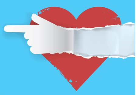 torn heart: Follow your heart - torn paper concept.  Red heart with torn paper hand silhouette with  place for text or image. Vector available. Illustration