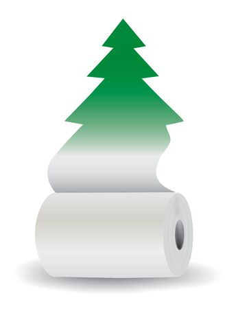 educacion ambiental: Recicle el papel salvar �rboles. Rollo de papel blanco con recorte silueta del �rbol. Concepto para la educaci�n ambiental. Vector disponible.