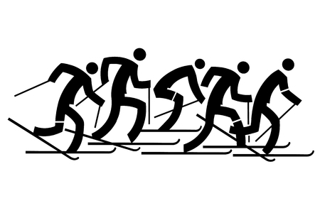crosscountry: Cross country Skiers. Five black stylized cross-country skiers. Vector  available. Illustration