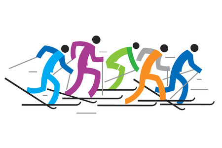 skiers: Cross country Skiers. Colorful illustration of five stylized cross-country skiers. Vector  available.