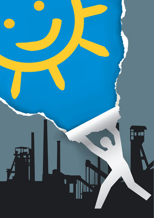 toxic emissions: Man ripping industrial paper background. Paper silhouette man Ripping industrial paper background revealing blue skies and sun. Ecological concept. Vector available. Illustration