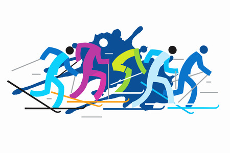 skiers: Cross country skiers grunge stylized. Five colorful grunge stylized cross country skiers. Vector  available. Illustration