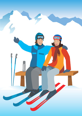 a charming: Young couple on ski vacation. Young happy couple jumping,  sitting on the bench in snowy mountains. Winter sport vacation. Vector  available. Illustration