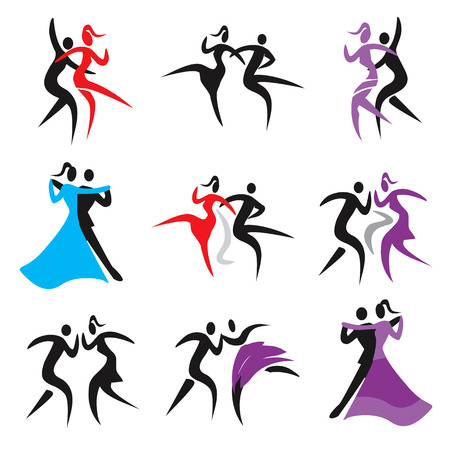 classical dance: Dancing icons. Set of icons with couples dancing modern, classical and disco dance. Vector  available.