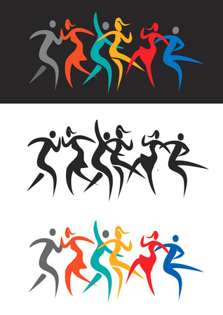 disco girls: Modern dancing disco dancers. Stylized Illustration of people dancing modern and disco dance. Vector  available.
