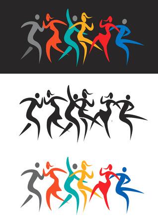 baile moderno: Modernos bailarines discoteca bailando. Estilizada ilustraci�n de la gente bailando la danza moderna y la m�sica disco. Vector disponible. Vectores
