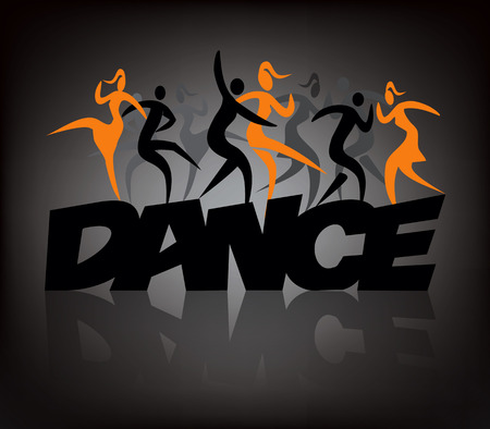 modern dancers: Word dance wih dancers. Word dance with people dancing modern and disco dance.Illustration on the black background.  Vector  available.
