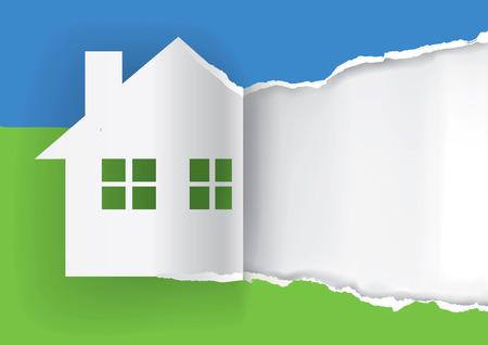 casale: Casa in vendita pubblicità modello Illustrazione della casa carta carta simbolo strappato con posto per il testo o l'immagine. Vector disponibili. Vettoriali