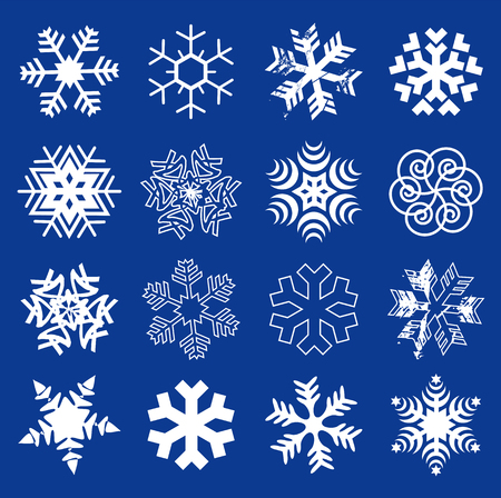 Snow flakes. Set of  original stylized snow flakes on the dark blue background. Vector  available.