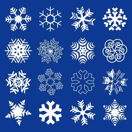 Sneeuwvlokken. Instellen van de originele gestileerde sneeuwvlokken op de donkerblauwe achtergrond. Vector beschikbaar.