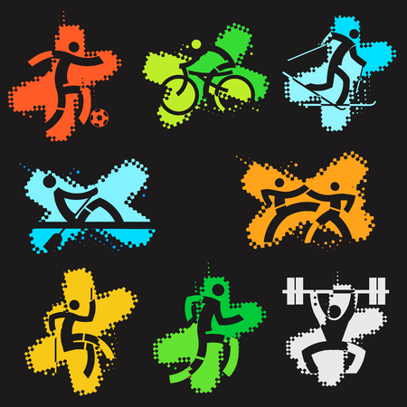 climbing mountain: Sport grunge icons. Set of colorful grunge icons with sport activities on the black background. Vector  available