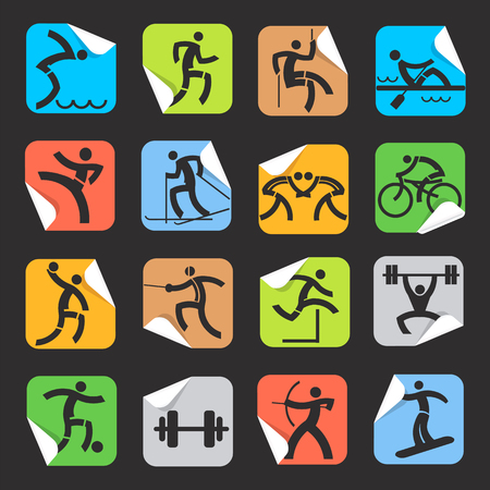dump body: Stickers with sport icons. Set of colorful  Square Stickers on the black background with sport symbols. Vector  available. Illustration