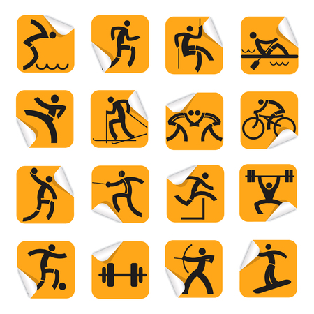dump body: Orange stickers with sport icons. Set of orange  Square Stickers on the white background with sport symbols. Vector  available.