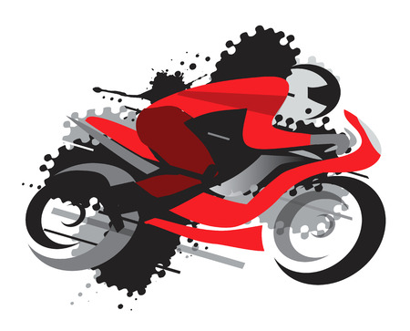 competitor: Motorbike racing. Motorcycle competitor on the grunge background. Vector available. Illustration