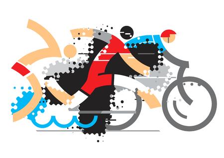 Triathlon atleten. Drie triathlon atleten op de grunge achtergrond. Vector beschikbaar.