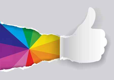 swatch: Paper thumbs up with color swatch. Paper silhouette of Thumbs up ripping paper with d color swatch. Concept for presenting of color printing. Vector available. Illustration