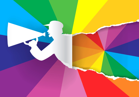 promotion: Paper silhouette of promotion man with megaphone ripping paper with color swatch. Concept for presenting of paints. Vector available.