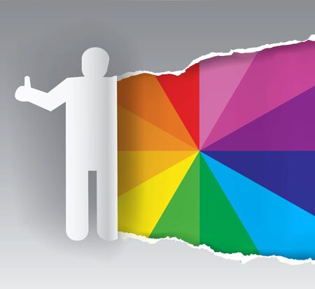 color swatch: Paper silhouette of man ripping paper with color swatch. Concept for presenting of paints, print colors.Vector available.