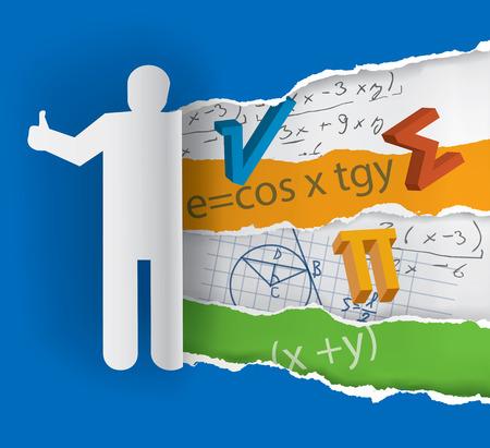 enseñanza: silueta de papel humano con símbolos matemáticos. Vector disponible.
