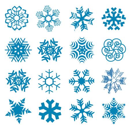 sapin neige: Ensemble de originales flocons de neige stylisé sur le fond blanc. Vecteur disponible. Illustration