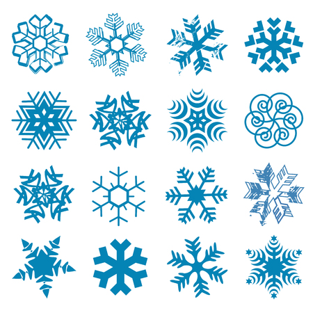 Set of original stylized snow flakes on the white background. Vector available. Vettoriali