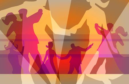 Stijldansen en dance party achtergrond. Kleurrijke achtergrond voor met silhouetten van dansende paren. Vector beschikbaar.
