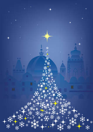 town abstract: Christmas tree in Historical town. Abstract Christmas tree  on the Winter Historical town decorative  background. Vector illustration available.