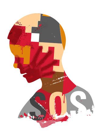 世界で暴力を象徴する顔に手で人間の頭のシルエットを印刷します。使用可能なベクトル。  イラスト・ベクター素材